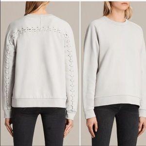 All Saints Yara Laced Sweatshirt Grey Women's